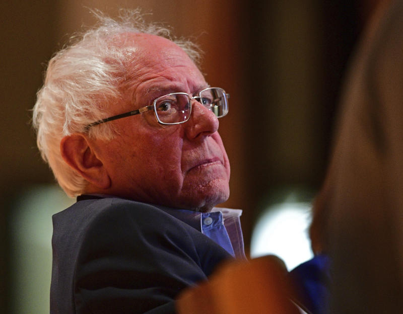 Sen. Bernie Sanders, I-Vt., sits before speaking at an Ohio workers town hall meeting, Sunday, April 14, 2019, in Warren, Ohio. (AP Photo/David Dermer)