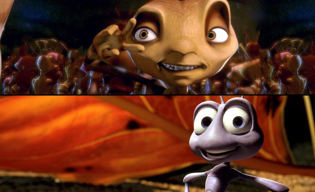 "<span style=""text-decoration:underline;""></span><a target=""_blank"" href=""http://movies.yahoo.com/movie/antz/"">""Antz""</a> (October 2, 1998)<br><br> <b>Synopsis:</b> Z-4195 is just a worker ant--one in a billion--and his odds of landing  the beautiful princess Bala, the spoiled daughter of the queen--are  about the same. A Central Park inhabitant who's undaunted by the  colony's unyielding caste system, Z enlists the aid of his best friend, a  soldier ant named Weaver, to get to the Princess on whom he has his  sights.<br><b>Score on Rotten Tomatoes:</b> 95%<br><b>U.S. box office:</b> $91m<br><br><a target=""_blank"" href=""http://movies.yahoo.com/movie/a-bugs-life/"">""A Bug's Life""</a> (November 25, 1998)<br><br> <b>Synopsis:</b> A colony of ants is threatened by a gang of grass hoppers led by the  evil Hopper. Flik, a common ant and a misfit, has an uncommon vision  when he tries to rise to heroic proportions by enlisting a band of  circus fleas to help him defend his colony from the grasshoppers.<br><b>Score on Rotten Tomatoes:</b> 92%<br><b>U.S. box office:</b> $163m"