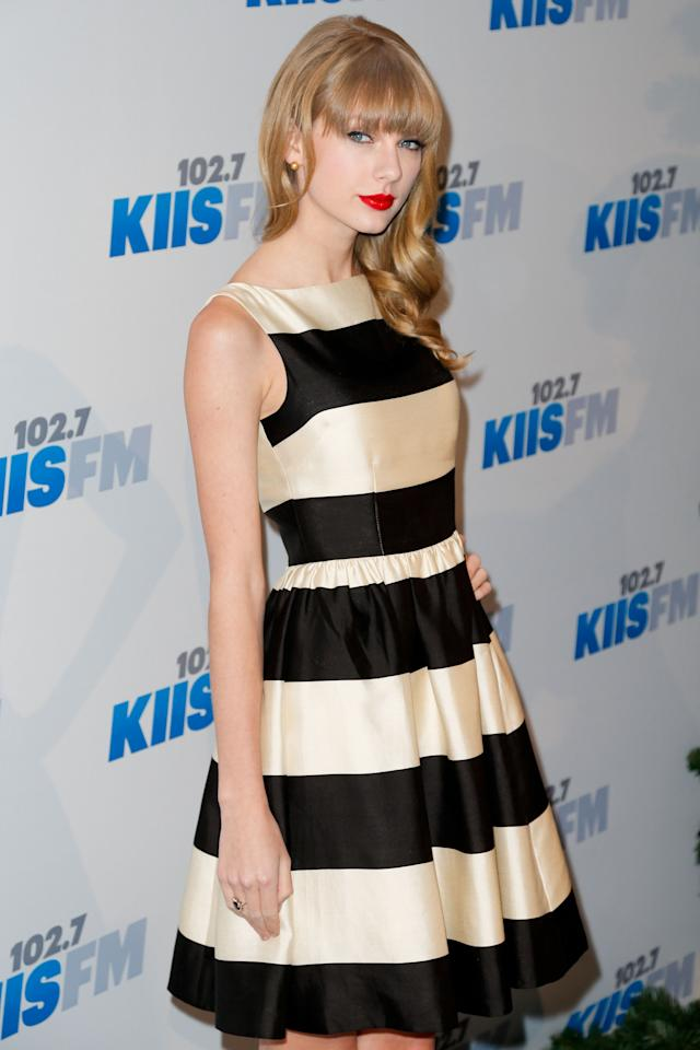 <p>Taylor Swift wearing a shiny black and cream striped Kate Spade dress in 2012. Source: Getty </p>