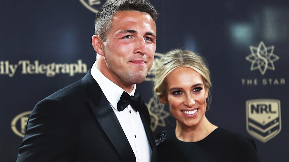 Phoebe Burgess (pictured right) with her ex-husband and former NRL star Sam Burgess (pictured left) at the Dally M.