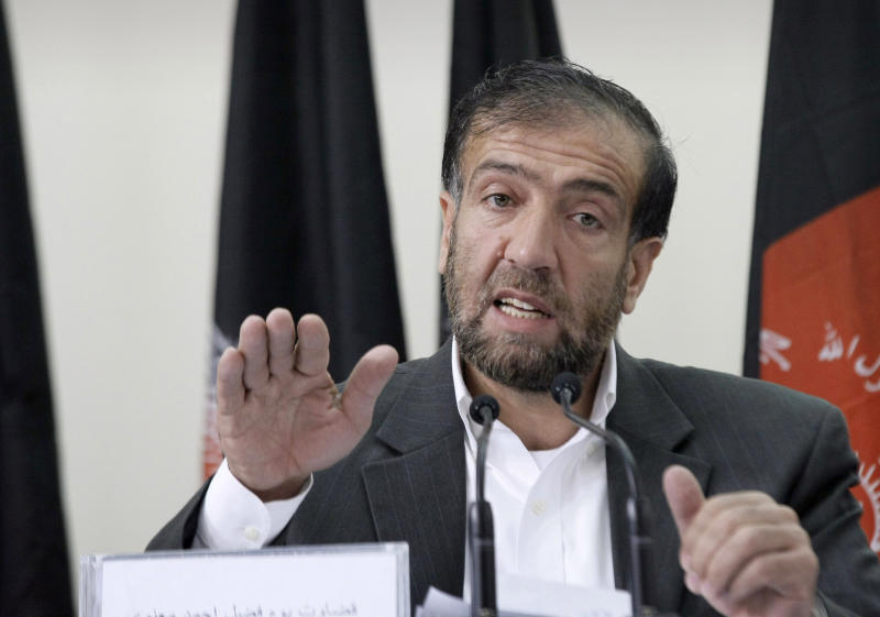 Fazel Ahmad Manawi, head of the Afghan Independent Election Commission, speaks during a press conference in Kabul, Afghanistan, Wednesday, Oct. 31, 2012. Afghanistan's Election Commission says the country's next presidential election will be held on April 5, 2014, in a vote that is seen as crucial for the future of the war-ravaged country. (AP Photo/Musadeq Sadeq)