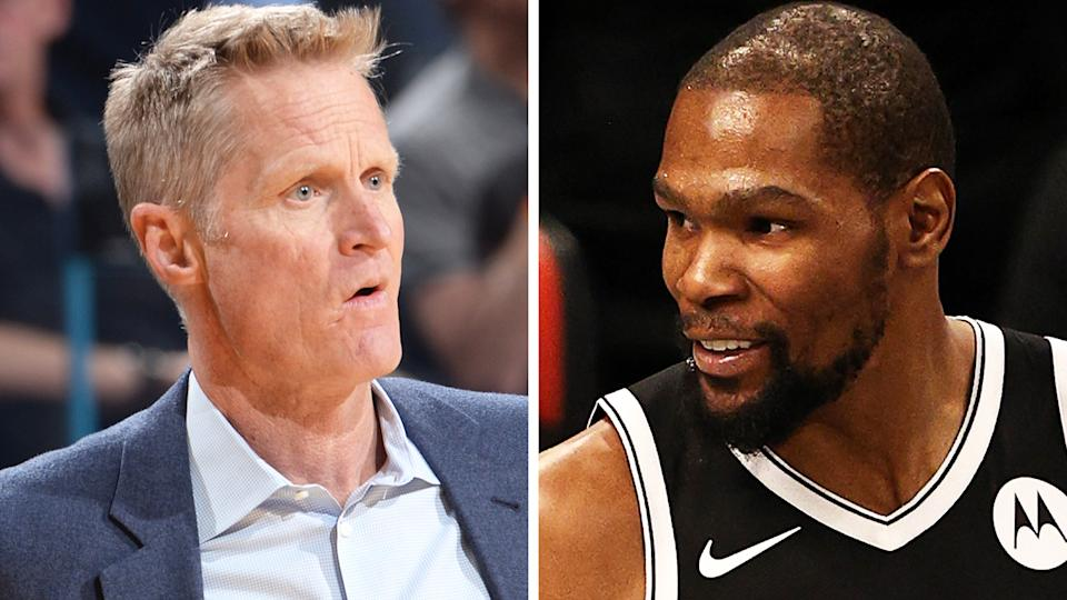 Steve Kerr has clarified comments he made on a recent podcast which he claims were taken out of context, once again sparking rumours of a feud with former Warriors star Kevin Durant. Pictures: Getty Images