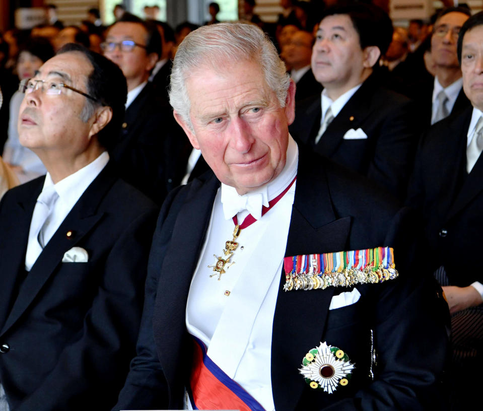 Britain's Prince Charles attends the enthronement ceremony of Japan's Emperor Naruhito at the Imperial Palace, in Tokyo, Tuesday, Oct. 22, 2019. Japan's Naruhito proclaimed himself Emperor during an enthronement ceremony at the Imperial Palace, declaring himself the country's 126th monarch.(Kyodo News via AP)