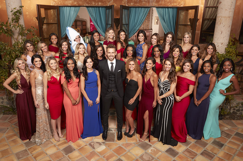 <p>Nick and his potential wives. (Photo: Craig Sjodin/ABC) </p>