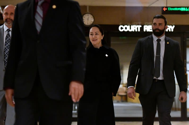Huawei CFO Meng leaves B.C. Supreme Court during her extradition hearing in Vancouver