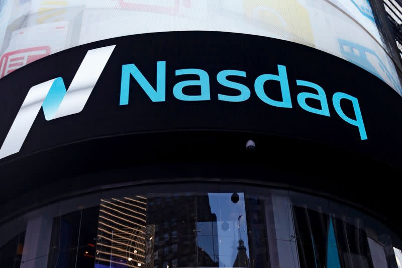 FILE PHOTO: A view of the exterior of the Nasdaq market site in the Manhattan borough of New York City