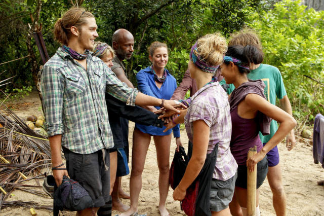 """Operation Thunder Dome"" - The Bikal Tribe huddles around each other after evicting Brandon Hantz during the sixth episode of ""Survivor: Caramoan - Fans vs. Favorites."""