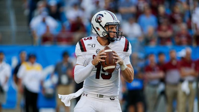 South Carolina quarterback Jake Bentley looks to pass against North Carolina in an NCAA college football game in Charlotte, N.C., Saturday, Aug. 31, 2019. (AP Photo/Nell Redmond)