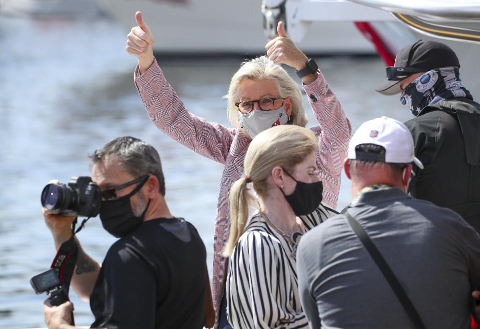 Tampa Mayor Jane Castor gives a thumbs up just prior to a boat parade to celebrate the Tampa Bay Buccaneers NFL football Super Bowl 55 victory over the Kansas City Chiefs in Tampa, Fla., Wednesday, Feb. 10, 2021. (Dirk Shadd/Tampa Bay Times via AP)
