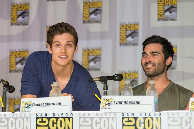 SAN DIEGO, CA - JULY 18: Actors Daniel Sharman (L) and Tyler Hoechlin attend the Teen Wolf panel during Comic-Con International 2013 on July 18, 2013 in San Diego, California. (Photo by Paul A. Hebert/WireImage)