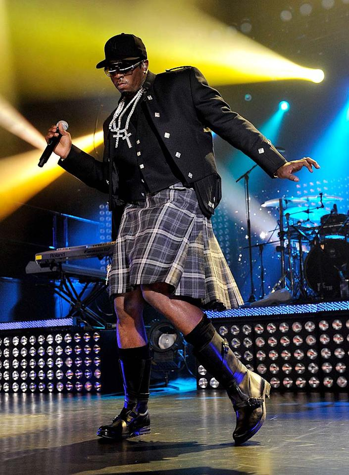 """Also rocking an attention-grabbing getup? Sean Combs, who performed with the Diddy-Dirty Money crew at the MTV Crashes Glasgow event. """"I just had a great show in Glasgow, Scotland!"""" the rapper tweeted. """"The people were so great! Thank you to all that came out! Thank you to MTV!"""" Gareth Cattermole/Getty Images for MTV/<a href=""""http://www.gettyimages.com/"""" target=""""new"""">GettyImages.com</a> - September 29, 2010"""