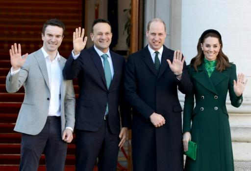 Ireland's interim Prime Minister Leo Varadkar (second left) with Prince William and their respective partners, Matthew Barrett and and Catherine, Duchess of Cambridge at the Government Buildings in Dublin on Tuesday