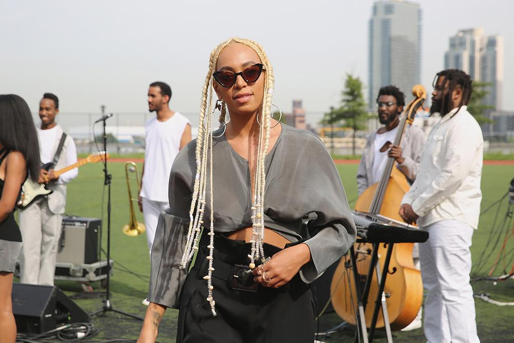<p>Solange showed off platinum blond braids at the Maryam Nassir Zadeh fashion show during New York Fashion Week. (Photo: Getty Images) </p>