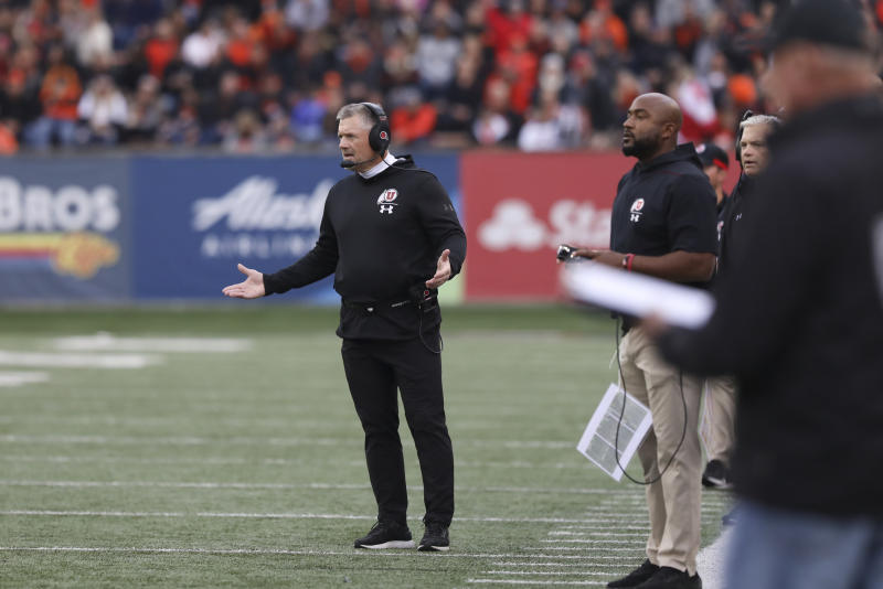 Utah coach Kyle Whittingham reacts to a call during the first half of the team's NCAA college football game against Oregon State in Corvallis, Ore., Saturday, Oct. 12, 2019. (AP Photo/Amanda Loman)