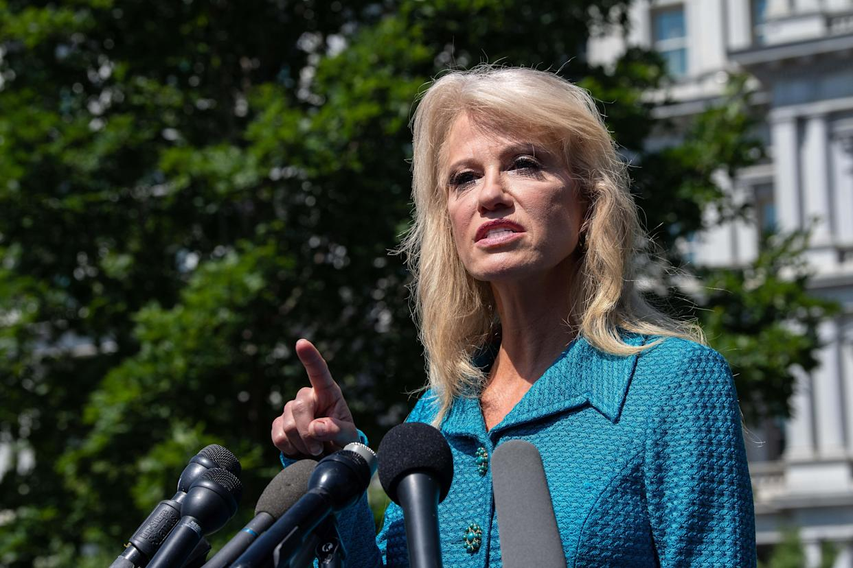 White House counselor Kellyanne Conway speaks to reporters at the White House on Tuesday. (Photo: Nicholas Kamm/AFP/Getty Images)