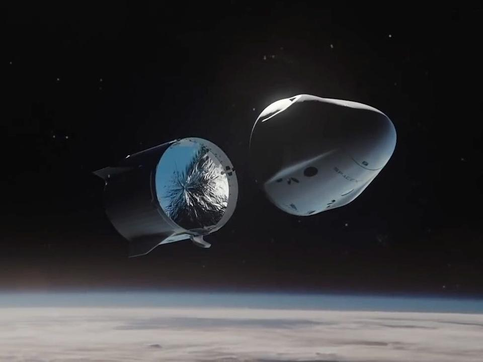 An illustration of SpaceX's Crew Dragon spaceship shedding its trunk before returning to Earth.