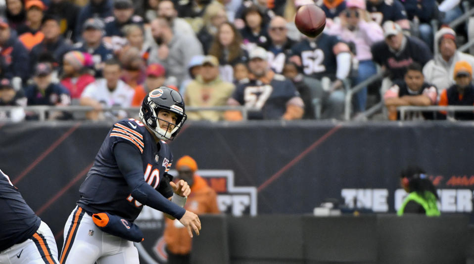 Oct 20, 2019; Chicago, IL, USA; Chicago Bears quarterback Mitchell Trubisky (10) passes against the New Orleans Saints in the first half at Soldier Field. Mandatory Credit: Matt Marton-USA TODAY Sports