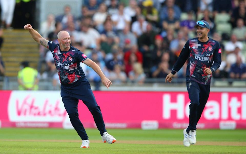 Kent's Darren Stevens show no sign of slowing down as he celebrates the wicket of Sussex's David Wiese - GETTY IMAGES