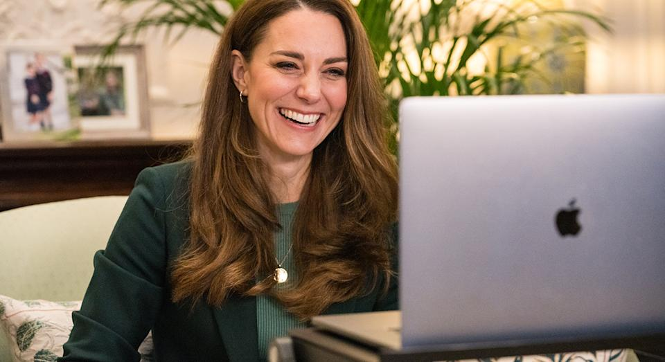 The Duchess of Cambridge relies on a laptop stand for her Zoom calls during the pandemic, including a recent virtual engagement with teachers from London school Roe Green Junior School.  (Kensington Palace)