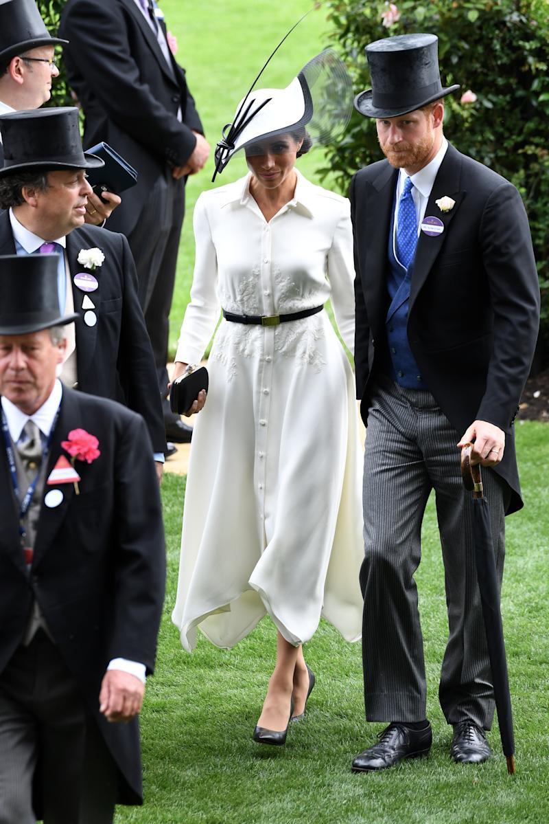 The Duchess of Sussex during day one of Royal Ascot at Ascot Racecourse