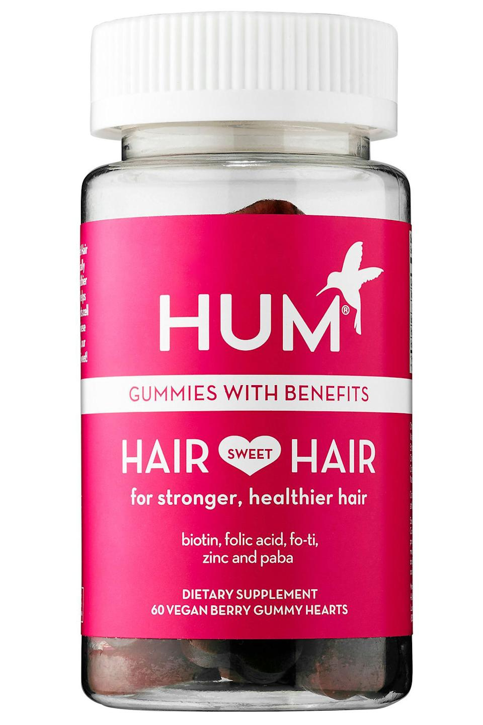 """<p><strong>HUM Nutrition</strong></p><p>sephora.com</p><p><strong>$10.00</strong></p><p><a href=""""https://go.redirectingat.com?id=74968X1596630&url=https%3A%2F%2Fwww.sephora.com%2Fproduct%2Fhair-sweet-hair-P415922&sref=https%3A%2F%2Fwww.harpersbazaar.com%2Fbeauty%2Fhair%2Fg7807%2Fhair-growth-vitamins%2F"""" rel=""""nofollow noopener"""" target=""""_blank"""" data-ylk=""""slk:Shop Now"""" class=""""link rapid-noclick-resp"""">Shop Now</a></p><p>These gluten-free, vegan chews promote stronger hair that can grow longer and maintain its color better, when consumed twice daily. The usual suspects (biotin, folic acid) make an appearance in these berry-flavored gummies, but it's the PABA (which can reportedly fight grays by boosting hair's natural pigmentation) and fo-ti (a hair-strengthening root from traditional Chinese medicine) that really make it stand out. <a href=""""https://www.bestproducts.com/beauty/g912/hair-growth-products-supplements/"""" rel=""""nofollow noopener"""" target=""""_blank"""" data-ylk=""""slk:Hum tops BestProducts.com's list"""" class=""""link rapid-noclick-resp"""">Hum tops BestProducts.com's list</a>, as well, for using sustainably sourced ingredients.</p>"""
