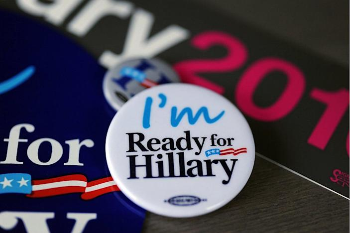 <p>Hundreds of campaign bumper stickers, car magnets and buttons are ready to be shipped to Clinton supporters by Ready for Hillary, a political action committee urging Hillary Clinton to run for president in 2016, from its headquarters in Rosslyn, Va. (Photo: Astrid Riecken/MCT/Getty)</p>