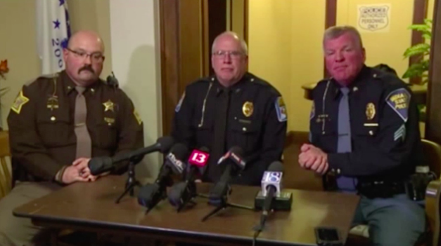 Local police held a press conference after the bodies were found in the search for the two 13-year-olds.