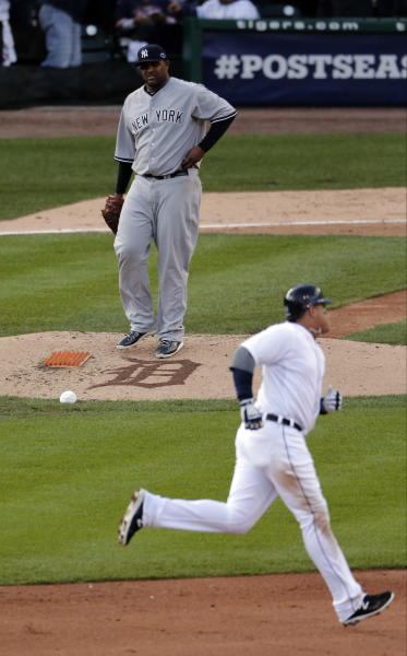 New York Yankees' CC Sabathia watches after Detroit Tigers' Miguel Cabrera hits a two run home run in the fourth during Game 4 of the American League championship series Thursday, Oct. 18, 2012, in Detroit. (AP Photo/Charlie Riedel)