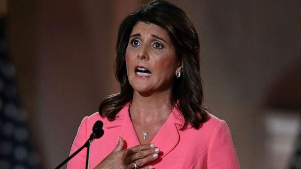PHOTO: Former Ambassador to the United Nations Nikki Haley speaks during the first day of the Republican convention at the Mellon auditorium on Aug. 24, 2020, in Washington. (Olivier Douliery/AFP via Getty Images)