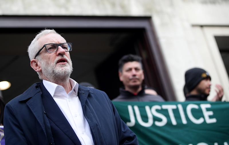 Jeremy Corbyn arrives to speak outside University of London