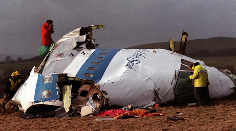 "FILE - In this Dec 22, 1988 file photo Police and investigators look at what remains of the flight deck of Pan Am 103 on a field in Lockerbie, Scotland. Swedish tabloid Expressen said Wednesday Feb. 23, 2011 that Libya's recently resigned justice minister claims Moammar Gadhafi personally ordered the Lockerbie bombing that killed 270 people in 1988. Expressen quotes Mustafa Abdel-Jalil as telling their correspondent in Libya that ""I have proof that Gadhafi gave the order about Lockerbie."" The comments were translated from Arabic to Swedish."