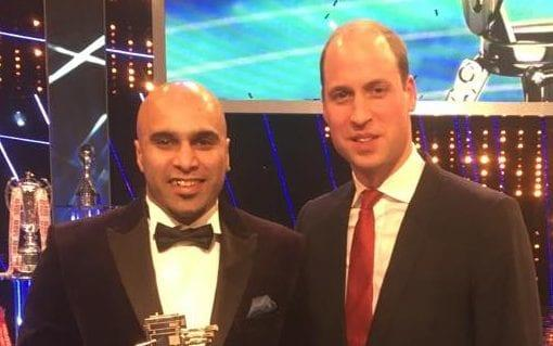 Marcellus Baz, the SPOTY Unsung Hero Award winner, said he knew a vet who stitched up wounds. Pictured with the Duke of Cambridge - Social Media Internet
