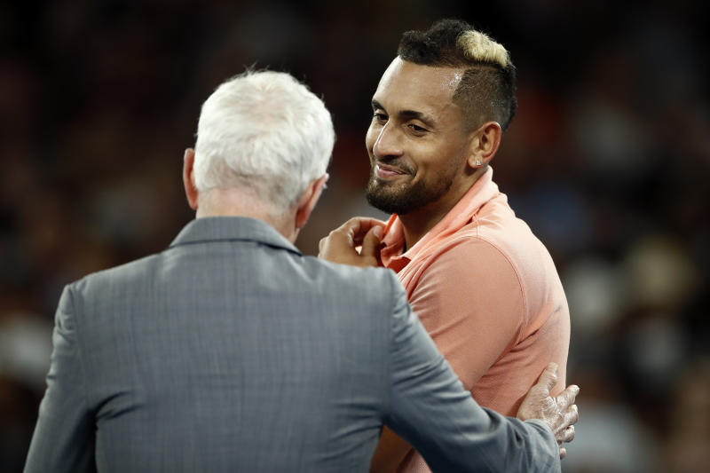 Nick Kyrgios of Australia is interviewed by John McEnroe after winning his Men's Singles first round match against Lorenzo Sonego of Italy on day two of the 2020 Australian Open at Melbourne Park on January 21, 2020 in Melbourne, Australia. (Photo by Daniel Pockett/Getty Images)