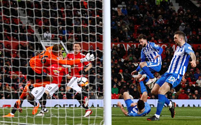 Soccer Football - FA Cup Quarter Final - Manchester United vs Brighton & Hove Albion - Old Trafford, Manchester, Britain - March 17, 2018 Manchester United's Nemanja Matic scores their second goal Action Images via Reuters/Jason Cairnduff