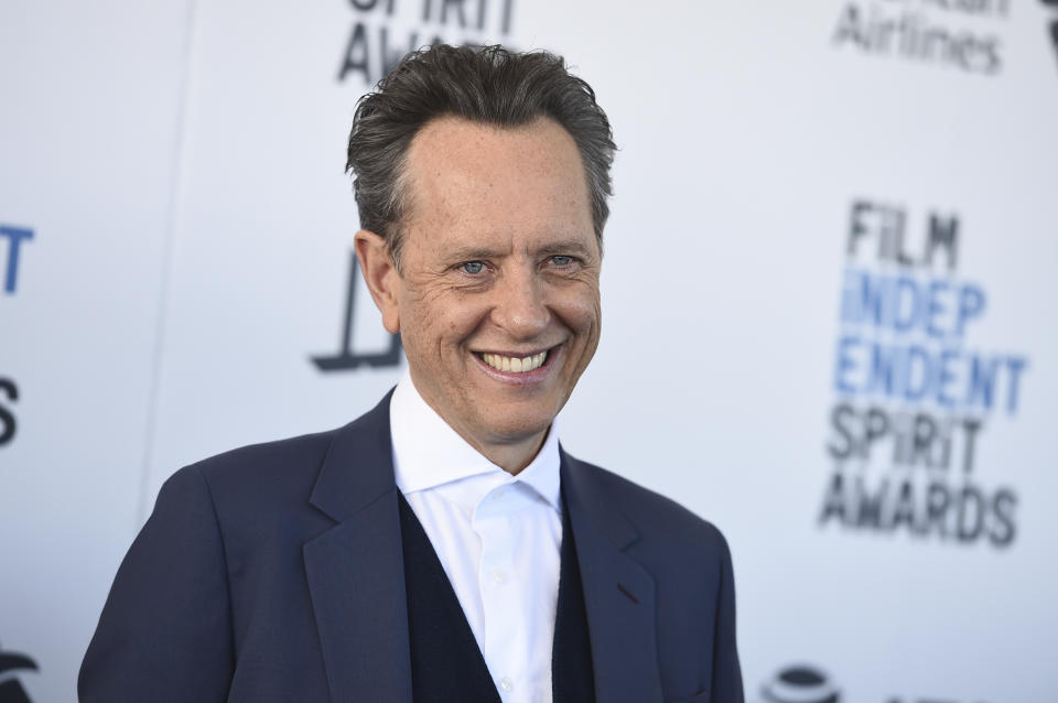 Richard E. Grant arrives at the 34th Film Independent Spirit Awards on Saturday, Feb. 23, 2019, in Santa Monica, Calif. (Photo by Jordan Strauss/Invision/AP)