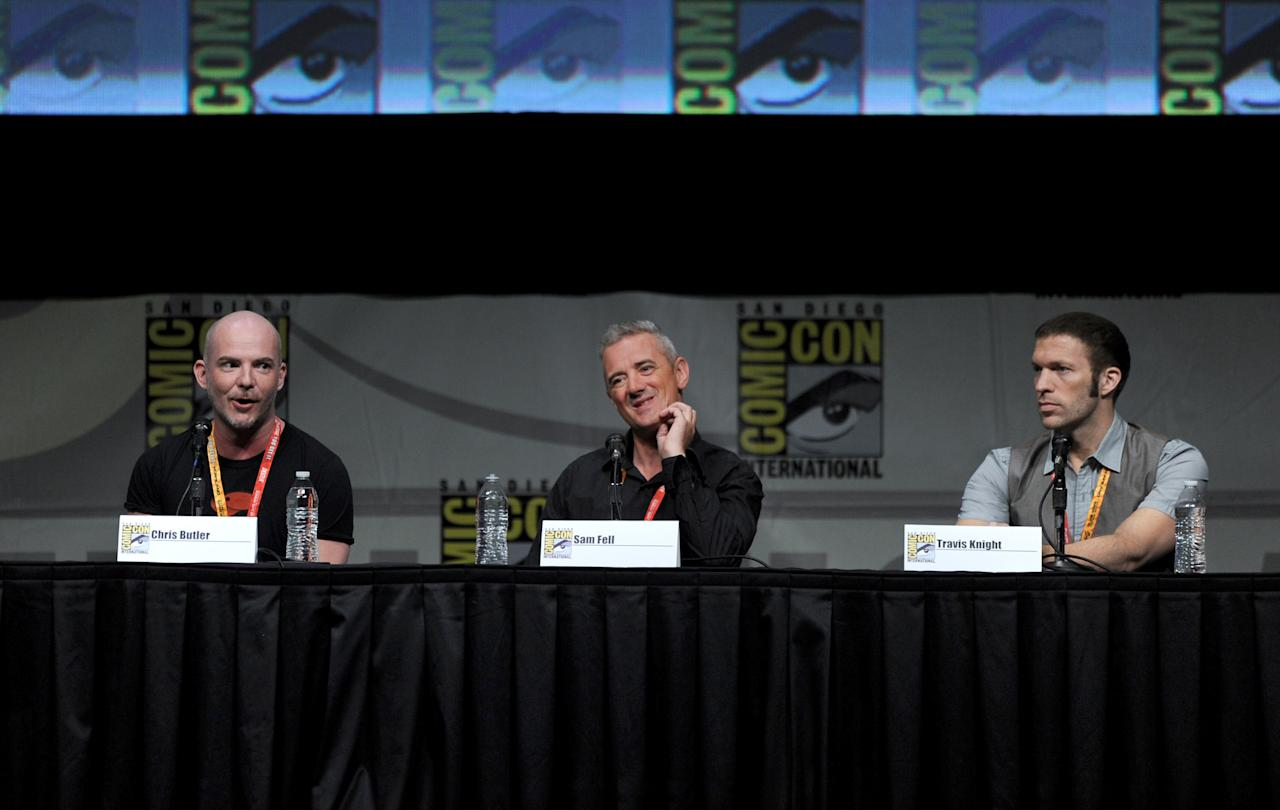 """SAN DIEGO, CA - JULY 13:  (L-R) Co-directors Chris Butler, Sam Fell, and producer Travis Knight speak at the """"Paranorman: Behind The Scenes"""" panel during Comic-Con International 2012 at San Diego Convention Center on July 13, 2012 in San Diego, California.  (Photo by Kevin Winter/Getty Images)"""