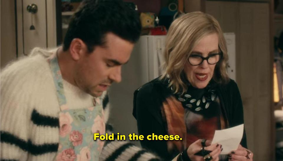 """Moira says """"Fold in the cheese"""""""