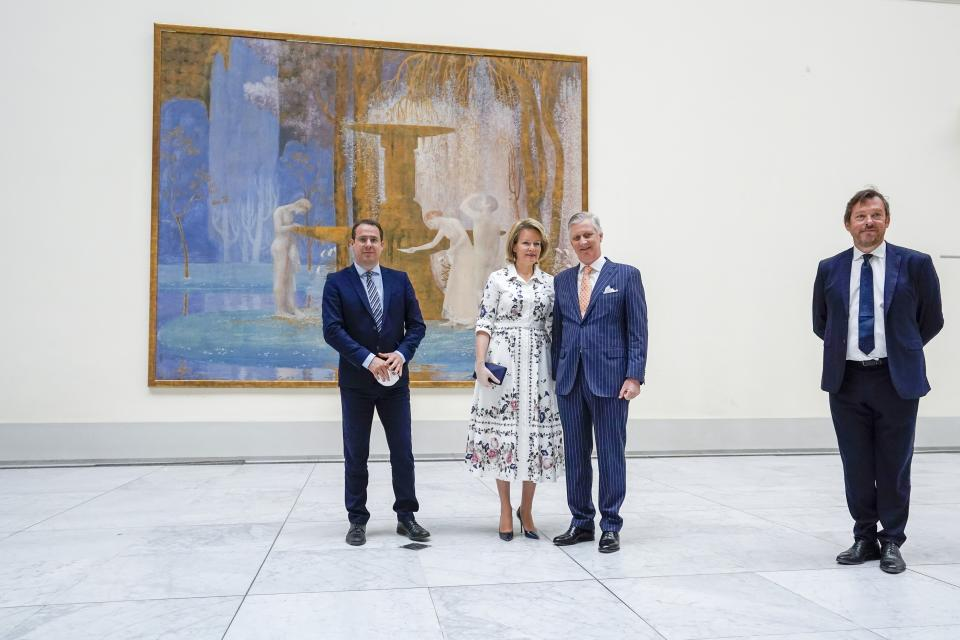 Brussels , 19/05/2020 Their Majesties the King and the Queen visit the Royal Museum of Fine Arts of Belgium. Pix : Michel Draguet / Queen Mathilde / King Philippe and David Clarinval  (Daina Le Lardic / Pool / Photo News) via Getty Images)
