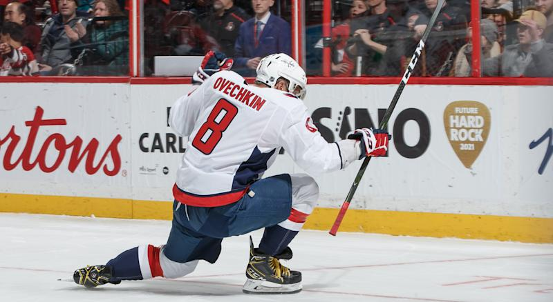 Alexander Ovechkin passed Mark Messier for eight on the NHL's all-time goals list. (Getty Images)