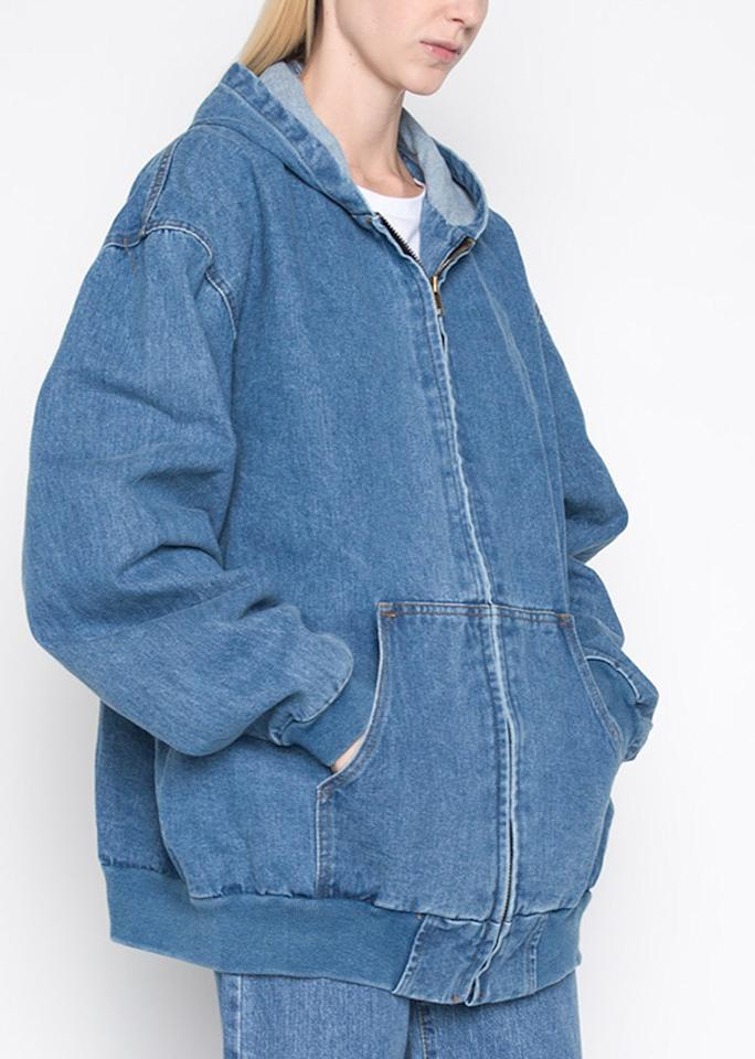 "Oak + Fort Denim Jacket, $148; at <a rel=""nofollow"" href=""http://www.oakandfort.com/womens/clothing/outerwear/all-outerwear/denim-jacket-h028.html"" rel="""">Oak + Fort</a>"