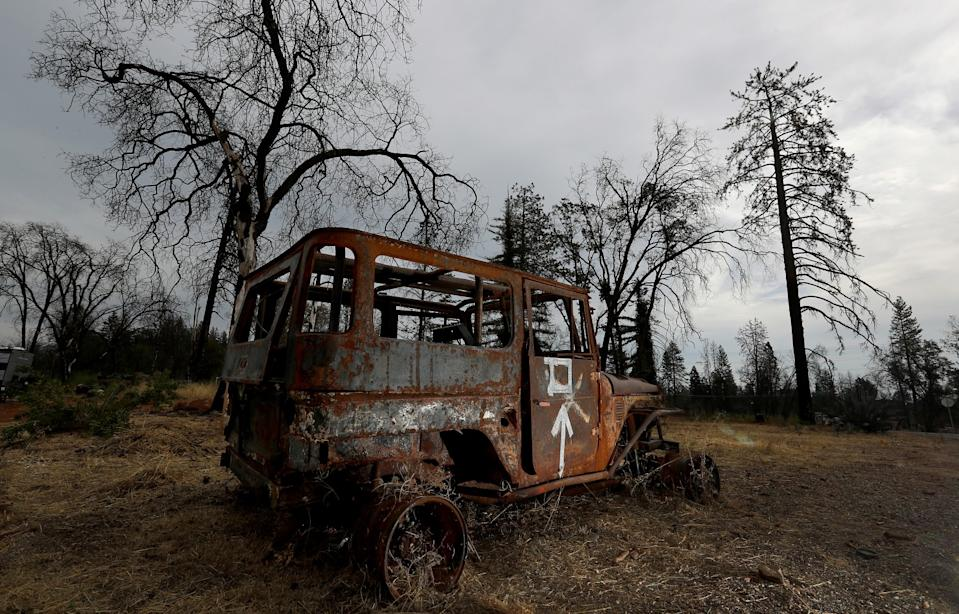 A burned-out vehicle in Paradise