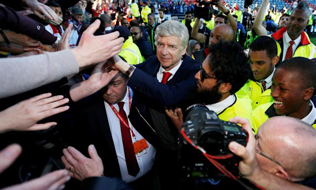 Arsène Wenger is the centre of attention for the last time as Arsenal manager after his side's 1-0 win over Huddersfield Town.