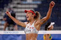 <p>TOKYO, JAPAN - JULY 29: Brandie Wilkerson #2 of Team Canada celebrates a point against Team Brazil in their Women's Preliminary Pool C match on day six of the Tokyo 2020 Olympic Games at Shiokaze Park on July 29, 2021 in Tokyo, Japan. (Photo by Sean M. Haffey/Getty Images)</p>