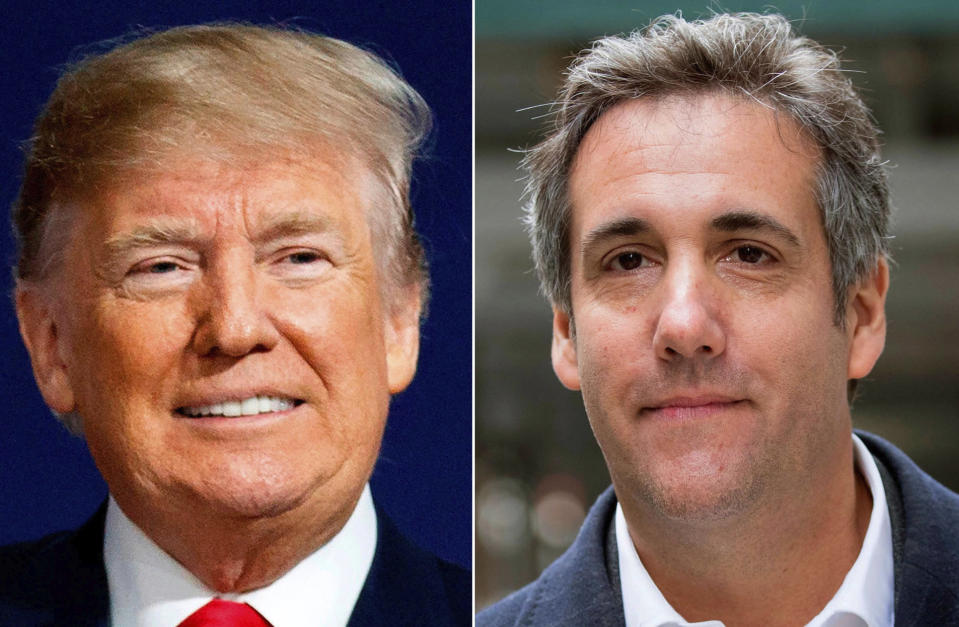 FILE - This combination of file photo shows, from left, former President Donald Trump and Michael Cohen. A federal election watchdog fined the publisher of the National Enquirer $187,500 for a payment it made to keep under wraps a story about Trump's alleged affair with a former Playboy model. (AP Photo/File)
