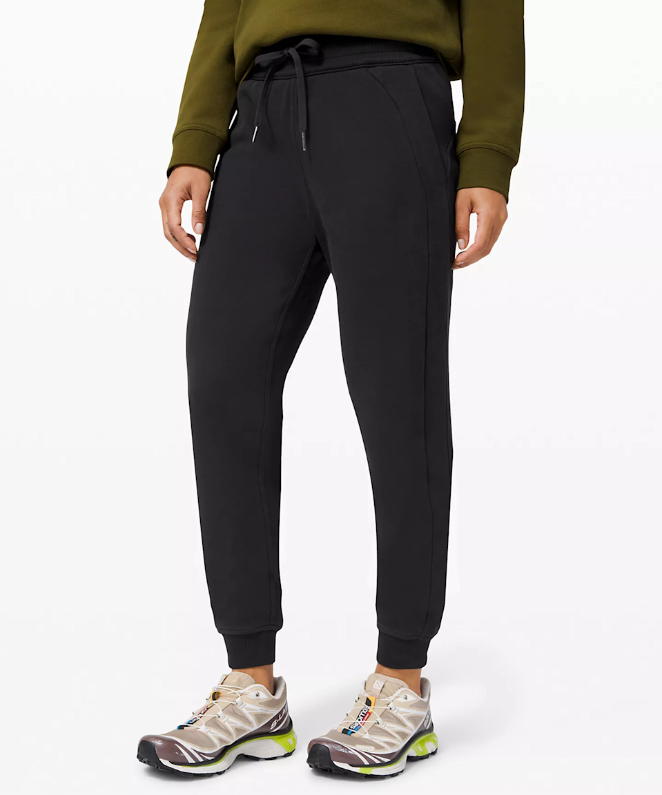 """<h2>Lululemon Scuba High-Rise Jogger Fleece 28""""</h2><br>These high-rise fleecy Lulu joggers were featured in our <a href=""""https://refinery29.com/en-us/most-comfortable-sweatpants-reviews"""" rel=""""nofollow noopener"""" target=""""_blank"""" data-ylk=""""slk:roundup of the most comfortable sweatpants"""" class=""""link rapid-noclick-resp"""">roundup of the most comfortable sweatpants</a> and gained significant cart steam throughout the month of March. Recommended by our very own Alexandra Polk, who calls them """"warm and presentable enough to wear to the grocery store but also comfy enough to hop in bed with.""""<br><br><em>Shop <strong><a href=""""https://shop.lululemon.com/p/womens-joggers/Scuba-Jogger/_/prod10190229"""" rel=""""nofollow noopener"""" target=""""_blank"""" data-ylk=""""slk:Lululemon"""" class=""""link rapid-noclick-resp"""">Lululemon</a></strong></em><br><br><strong>Lululemon</strong> Scuba High-Rise JoggerFleece 28"""", $, available at <a href=""""https://go.skimresources.com/?id=30283X879131&url=https%3A%2F%2Fshop.lululemon.com%2Fp%2Fwomens-joggers%2FScuba-Jogger%2F_%2Fprod10190229%3Fcolor%3D0001"""" rel=""""nofollow noopener"""" target=""""_blank"""" data-ylk=""""slk:Lululemon"""" class=""""link rapid-noclick-resp"""">Lululemon</a>"""