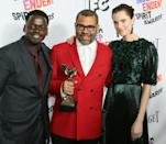 "Daniel Kaluuya (L) earned his first Oscar nomination for his work in race-based horror film ""Get Out"" opposite Allison Williams (R), which was written and directed by Jordan Peele (C)"