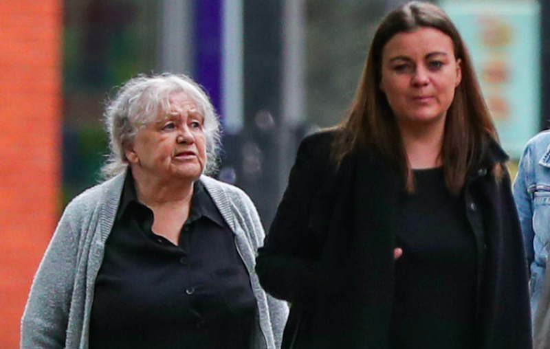 Christina Pomfrey (left), 65, and Aimee Brown (centre left), 34, arrive at Minshull Street Crown Court in Manchester to face sentencing for charges of benefit fraud. PA Photo. Picture date: Monday June 8, 2020. Pomfrey was sentenced to three years and eight months in prison, while Brown received a 18-month jail term suspended for two years. See PA story COURTS Benefits. Photo credit should read: Peter Byrne/PA Wire