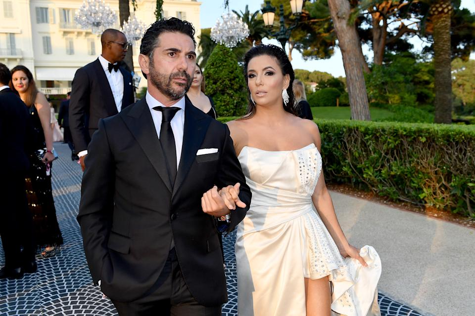 CAP D'ANTIBES, FRANCE - MAY 23: Jose Baston and Eva Longoria attend the amfAR Cannes Gala 2019 at Hotel du Cap-Eden-Roc on May 23, 2019 in Cap d'Antibes, France. (Photo by Jacopo Raule/amfAR/Getty Images for amfAR )