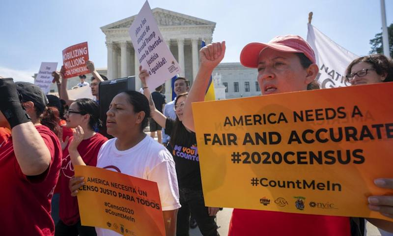 Protesters at the supreme court in June, before justices blocked the citizenship question from the 2020 census.