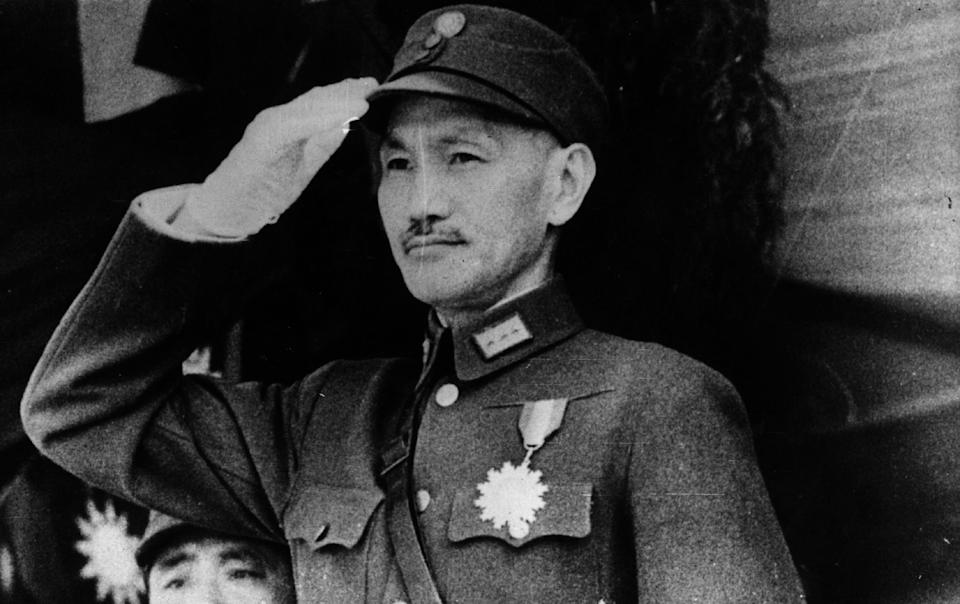 circa 1943:  Chinese statesman and nationalist General Chiang Kai-shek (1887 - 1975). President of China 1928 - 1931 and 1943 - 1949. He took part in the revolution of 1911 that overthrew the Qing dynasty of the Manchus. His regime enjoyed American support until his death when his son Chiang Ching-kuo became President.  (Photo by Keystone/Getty Images)
